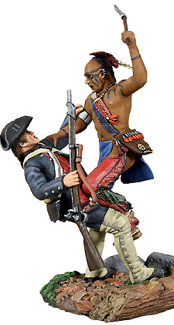 2 Pc Set W Britain Eastern Woodland Indian and Colonial Militia Hand-to-Hand